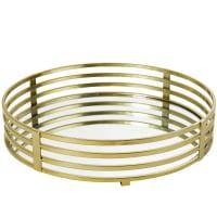 Plateau avec miroir et métal doré Veronica