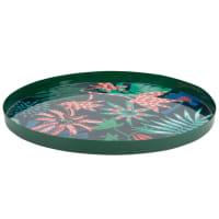 Plateau en métal vert imprimé floral multicolore
