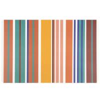 Lot de 12 - Plateau en polypropylène motifs à rayures multicolores