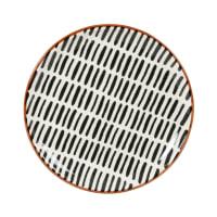 ELLY - Lote de 6 - Plato de postre de gres con estampado de rayas en crudo/negro