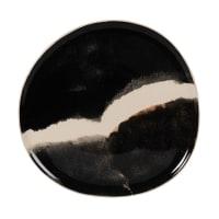 STOLEN - Lote de 6 - Plato de postre de gres marrón, blanco y negro