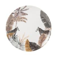Plato de postre de porcelana con estampado de cebra