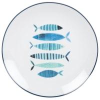 LACANAU - Lote de 2 - Plato llano de porcelana blanca con estampado de peces azules