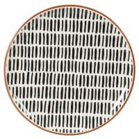ELLY - Lote de 6 - Plato plano de gres con estampado de rayas en color crudo y negro