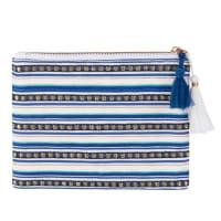 Pochette en coton blanc motif à rayures bleu et pompons