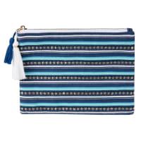 Pochette en coton bleu motifs à rayures