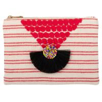 Pochette en coton écru motifs à rayures rouges et décor tricoté