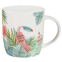 Porcelain Mug with Tropical Print Cacatoes