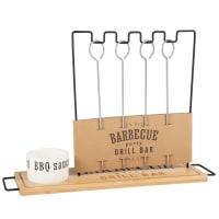 BBQ - Portabrochetas de barbacoa con cuenco para salsa de porcelana