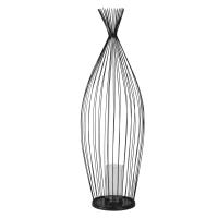 AMAE - Portacandela in metallo nero e vetro