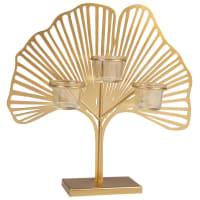 MILY - Portacandela motivo foglia in vetro e metallo dorato