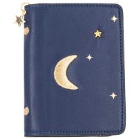 Portadocumenti in cotone blu marino con stampa luna e stelle