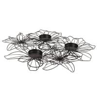 Portalumini composizione floreale in metallo nero