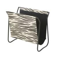Portariviste in pelle nera motivo zebrato e metallo nero
