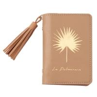 Porte-cartes marron clair imprimé palmier doré