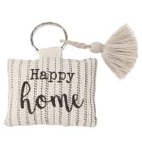 Porte-clés en métal argenté et coton beige imprimé Happy Home