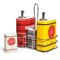 Porte-condiments rouge et jaune Vintage