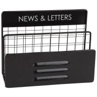 Porte-courrier indus en métal noir News & Letters