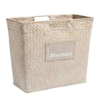 Porte-journaux en fibre végétale blanc