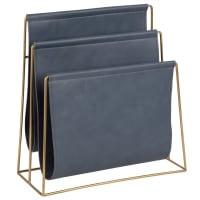 Porte-revues bleu gris et métal doré Andrew