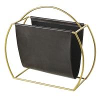 Porte-revues en cuir de chèvre noir et métal doré Adamson