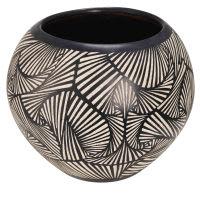 Pot de jardin en terre cuite motifs noirs et blancs H.38cm Bamako