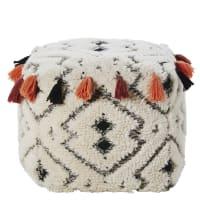 Pouf a pompon in lana e cotone Carre