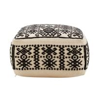 Pouf écru motifs ethniques noirs Amazigh