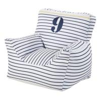 Pouf en coton blanc motifs à rayures bleues Marin