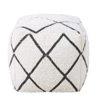 Pouf en coton blanc motifs graphiques noirs Jacala