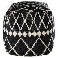 Pouf en coton motifs noirs et blancs 45x45x45cm Lagia