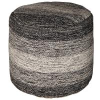 Pouf en tissu chiné noir et gris clair Nilo