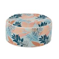 JUNGLE - Pouf gonflable d'extérieur corail, bleu canard et bleu motif végétal