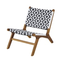 NAIROBI BUSINESS - Professional Black and White Woven Resin and Solid Acacia Armchair