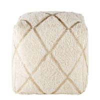 Puf de algodón blanco con motivos gráficos dorados