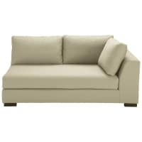 Putty-coloured cotton modular sofa bed right armrest Terence