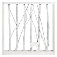 Quadro luminoso cervo in pioppo effetto sbiancato, 43x43 Cottage