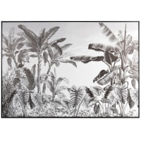 Quadro stampa giungla nero e bianco 90 cm x 63 cm