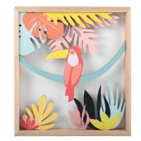 Quadro tucano giallo, rosa e blu, 20x22 cm