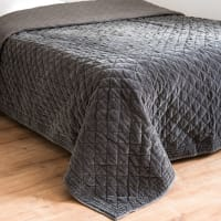 Quilt aus anthrazitfarbener Baumwolle mit Rhombenmuster 240x260 Marthe