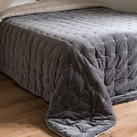 CALIO - Quilt aus grauem Pikee-Samt 240x260
