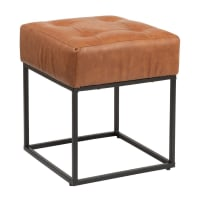 NERO - Quilted Brown and Black PVC and Metal Stool