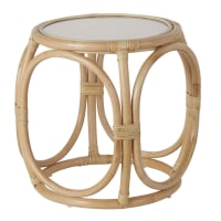 ALLIA - Rattan and glass side table