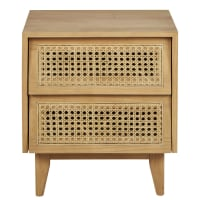 SUZELLE - Rattan bedside table with 2 drawers