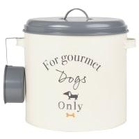 GOURMET - Recipiente para comida de perros de metal beige y gris con cucharón