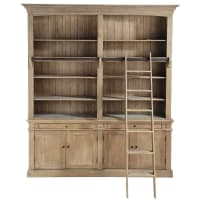 Recycled Pine 2-Drawer 4-Door Bookcase with Ladder Aristote