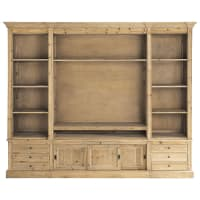 Recycled Solid Pine TV Unit Bookcase Passy