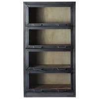 Recycled wood display case in black W 90cm Edgar