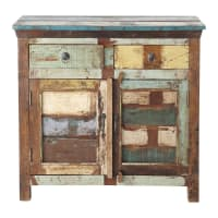Recycled wood sideboard, multicoloured W 90cm Calanque