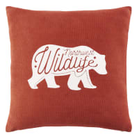 Red Cotton Cushion with Bear Print 40 x 40 Sitka